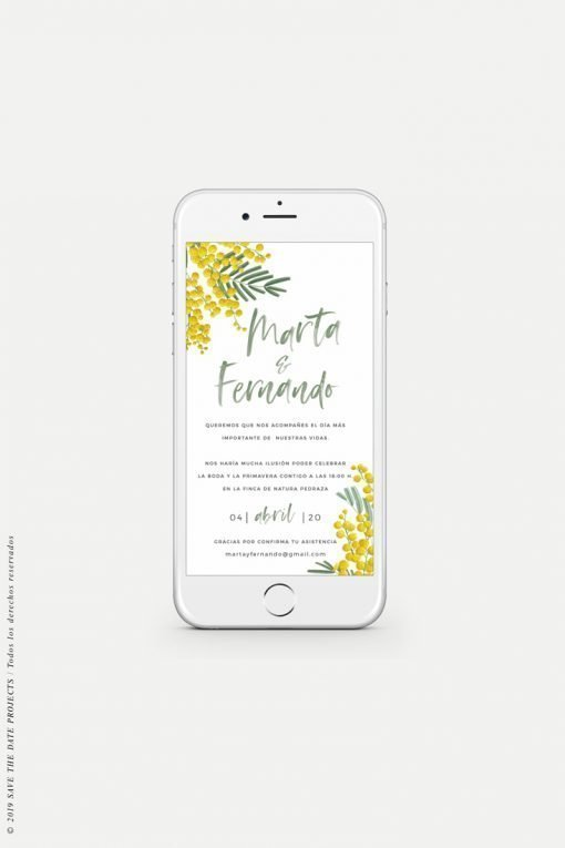 invitacion de boda originales digitales mimosas whatsapp