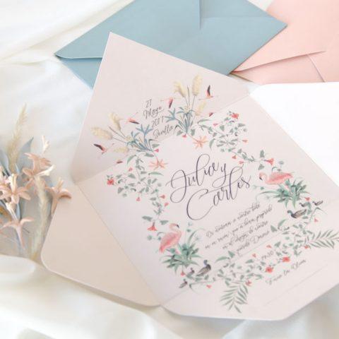 invitacion de boda y sobre al mismo tiempo