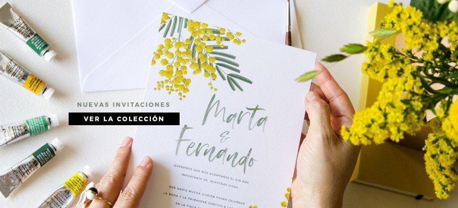 papelería boda con flores mimosas