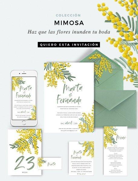 invitacion de boda con flores mimosas