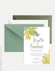 invitaciones de boda mimosas amarillas lettering