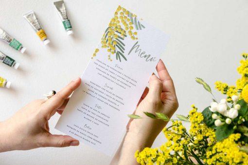 menu de boda con flores mimosas