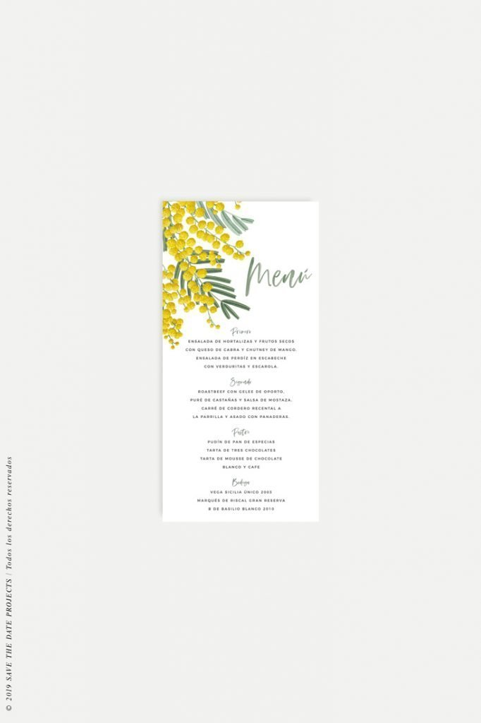 menu de boda original flores mimosas