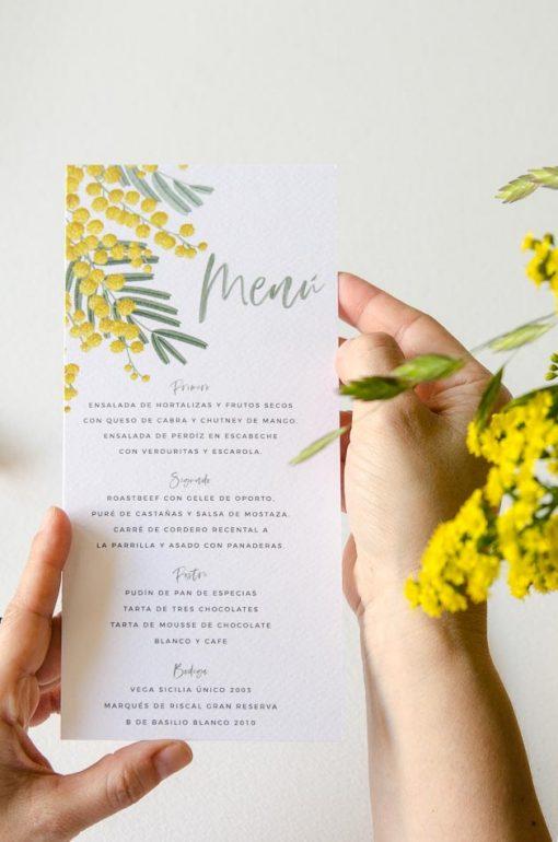 menu de boda personalizado mimosas