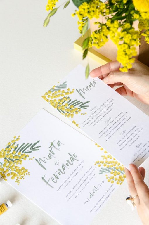 minutas boda personalizadas flores