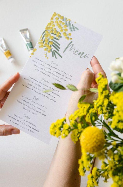 minutas de boda floral mimosas