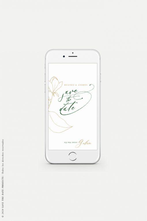 save the date digital con flor MAGONOLIA camel