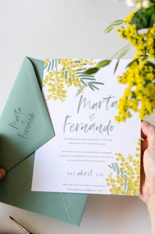 sello para boda personalizado mimosas