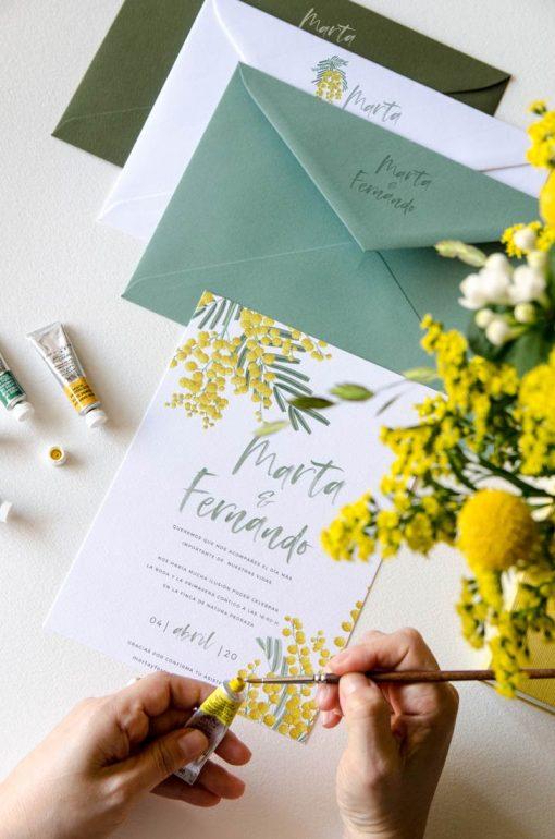 sello seco impresion sobres boda mimosas