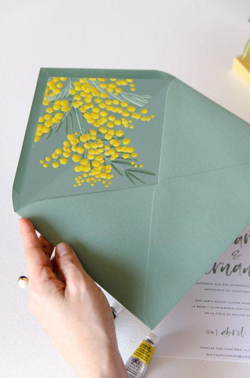 sobre forrado floral verde mimosas