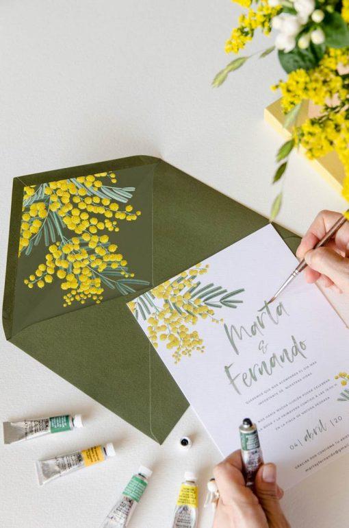 sobre forrado verde olivo mimosas