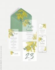 sobres forrados con flores para boda mimosas