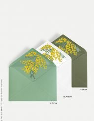 sobres para boda con forro flores estampadas mimosas