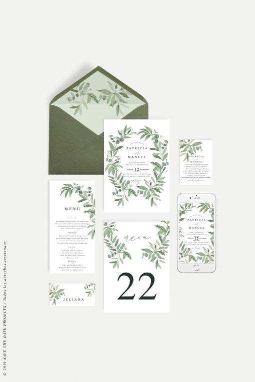 invitacion de boda eucalipto papeleria completa