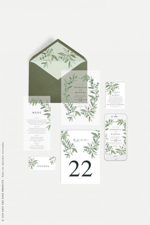 invitacion de boda transparente eucalipto