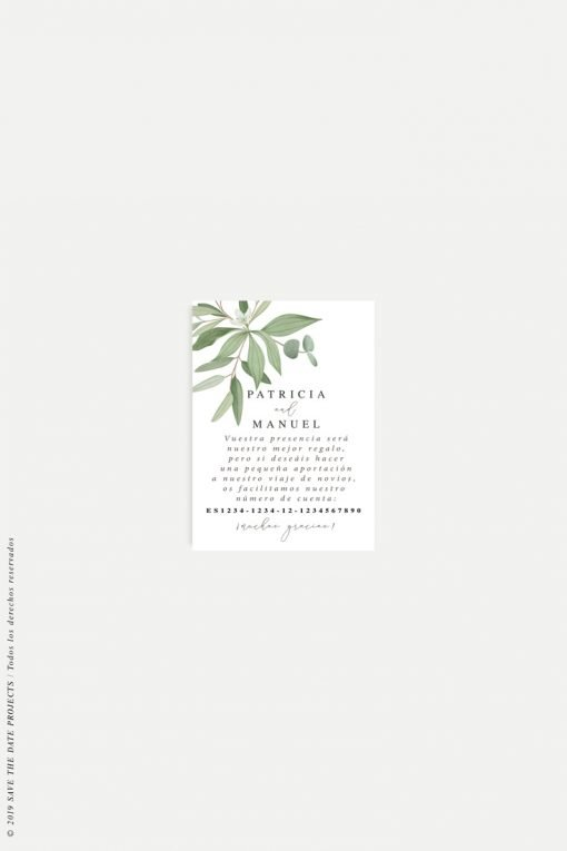 lista de boda eucalipto acuarela