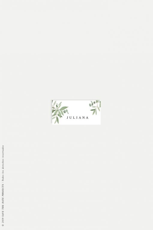 puestos en mesa placecards eucalipto verde