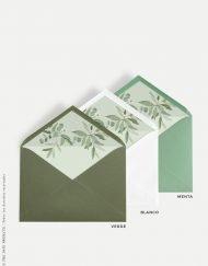 sobres de boda forrados originales ACUARELA eucalipto verde