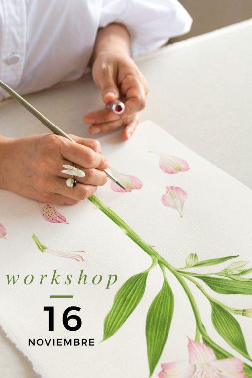 curso de acuarela botánica ilustración de flores