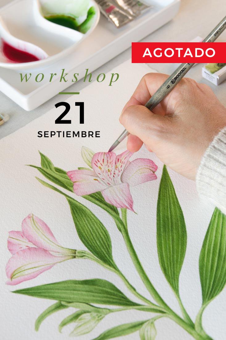 Mano dibujando flor y fecha taller