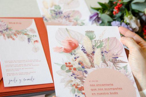 Detalle ilustracion boda primavera y