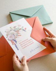 Invitacion primavera con sobre boda