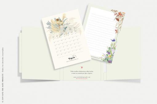 calendario 2020 con flores savethedateprojects caja y bloc