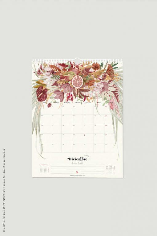 calendario pared mes diciembre 2020