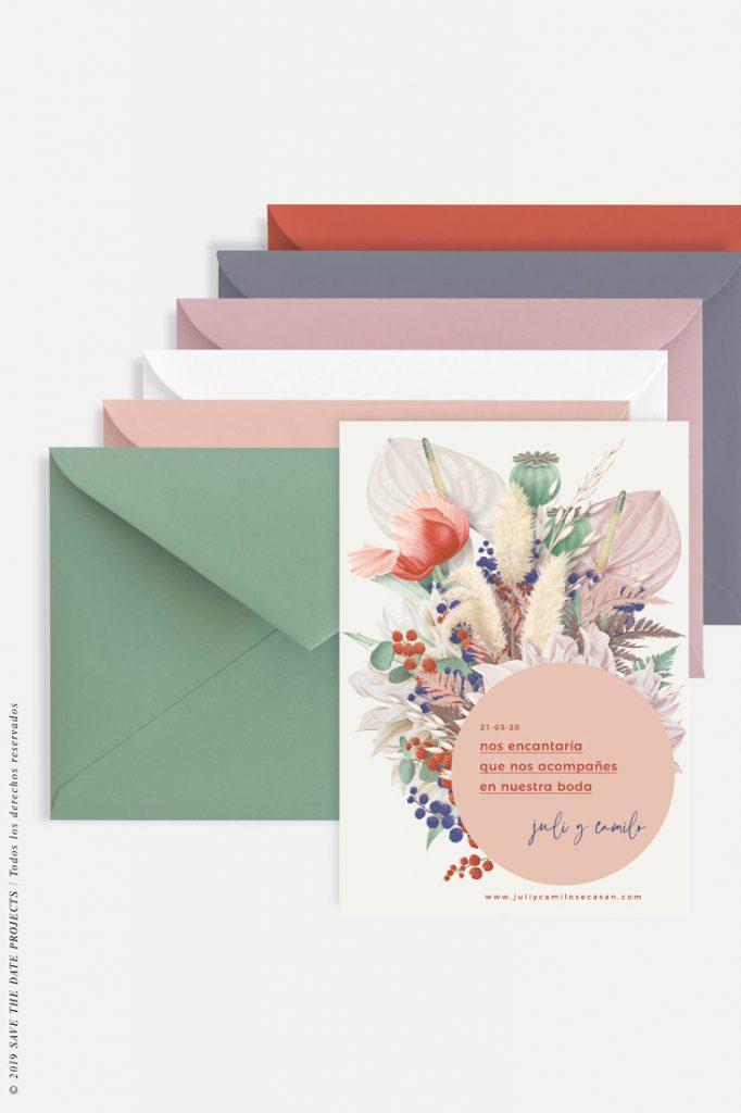sobres para boda invitacion primavera circulo