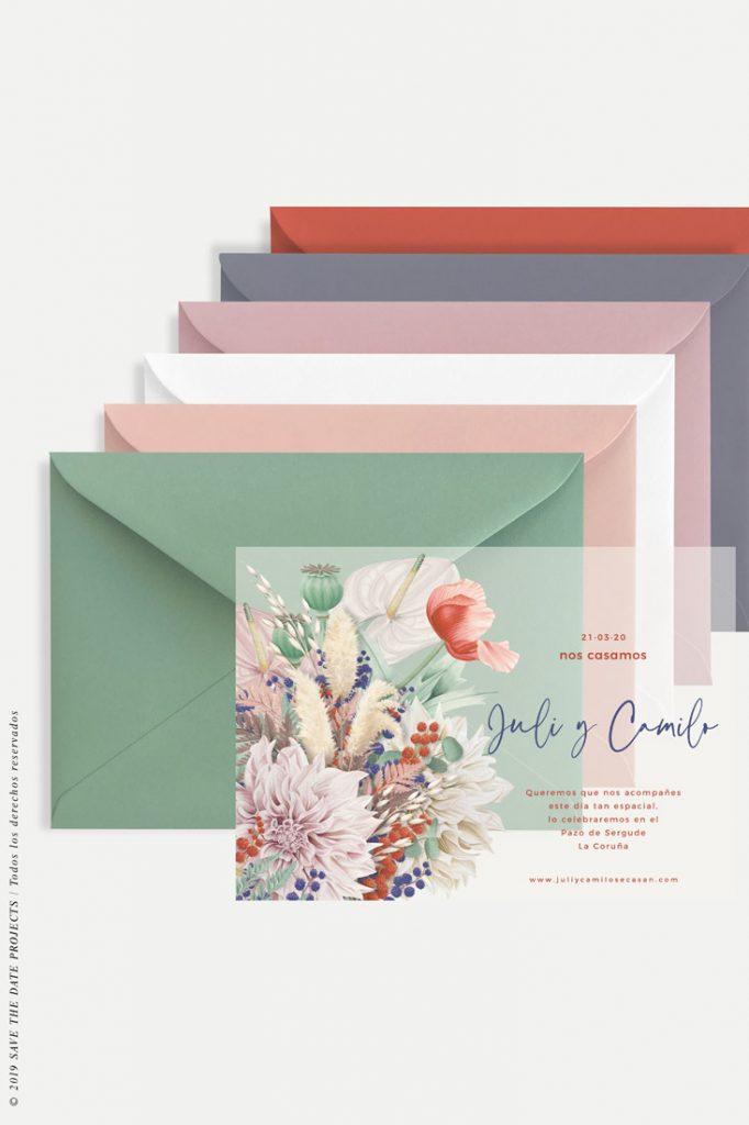 sobres para boda invitacion primavera transparente