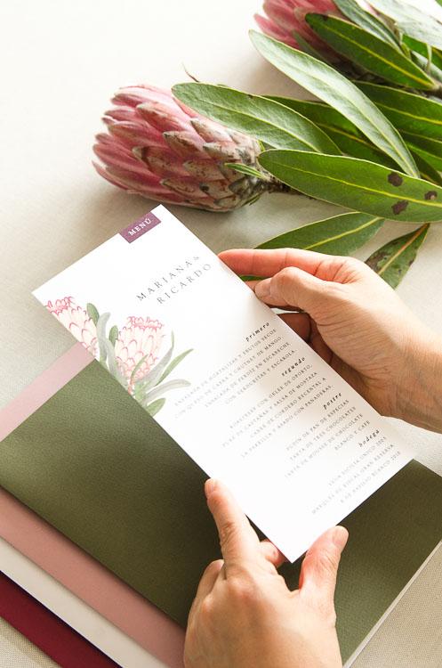 minuta boda proteas con flores
