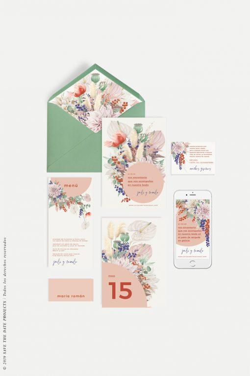números de mesa y colección de papelería primavera
