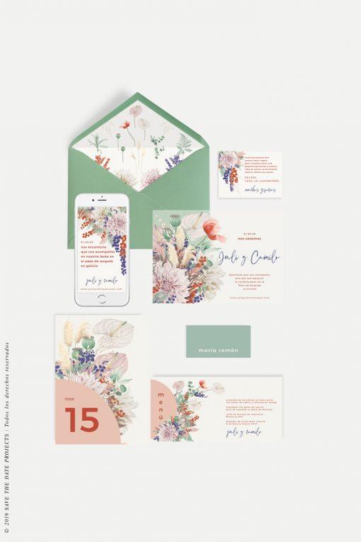 minutas de boda primavera y papelería a juego