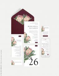 papeleria de boda proteas burdeos