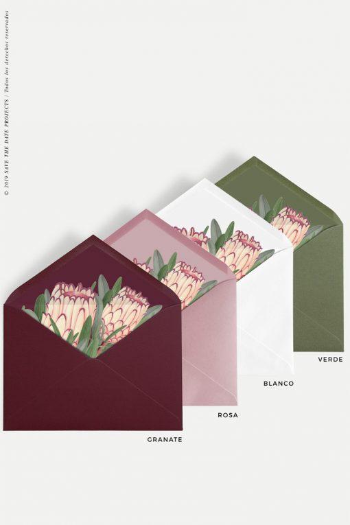 sobres con forro de proteas colores rojo blanco nude y verde