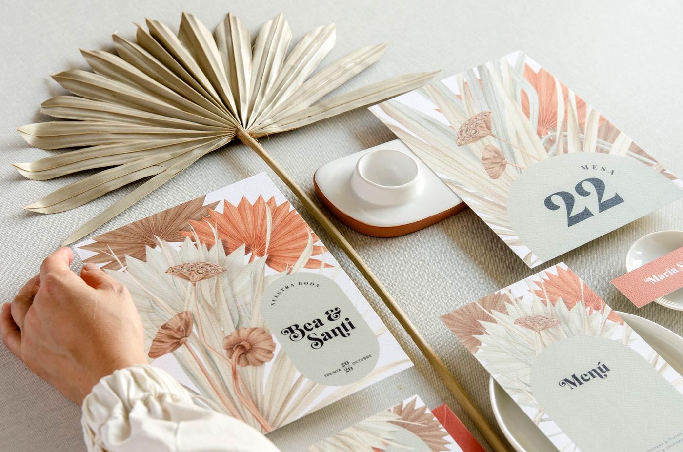 cabecera coleccion papeleria boda flores secas
