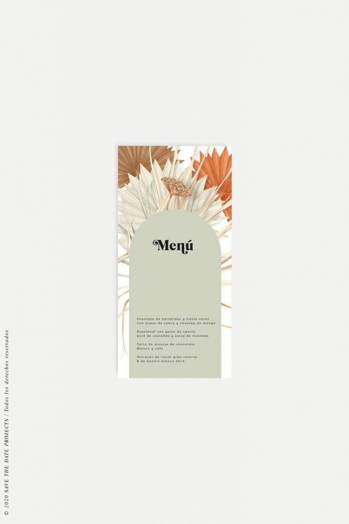 minuta boda flores secas