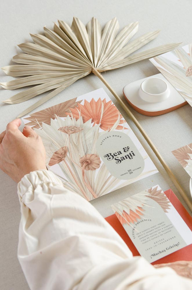 invitacion de boda verano flores secas y papeleria