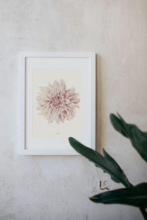 lamina decorativa marco blanco dahlia
