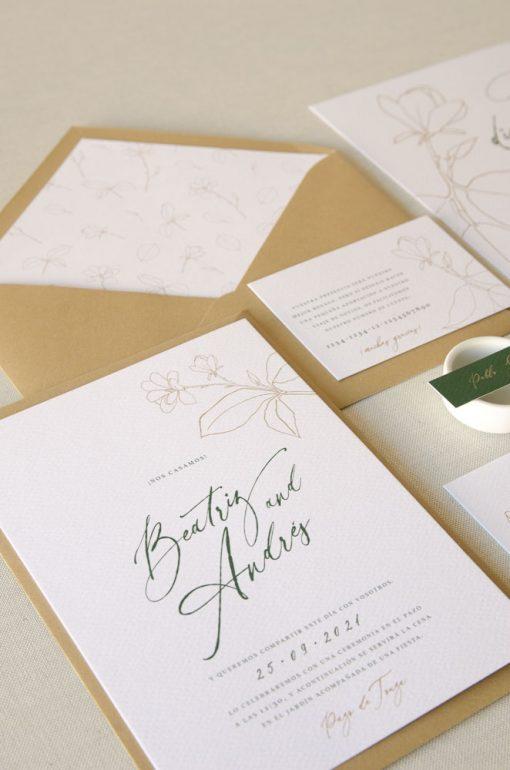 detalle invitacion magnolia kraft