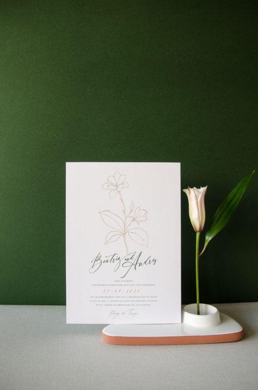 invitación de boda magnolia kraft