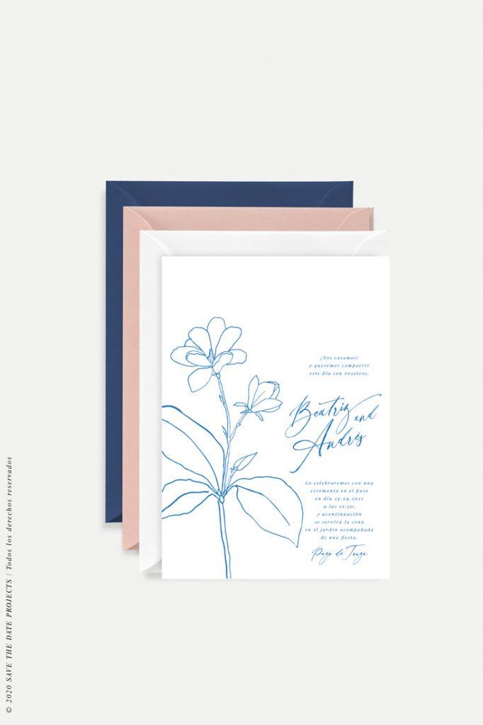 invitacion de boda sencilla con flor MAGONOLIA azul 2