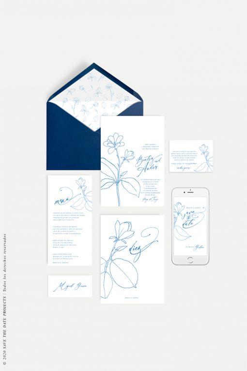 papeleria e invitacion de boda con flor MAGONOLIA azul