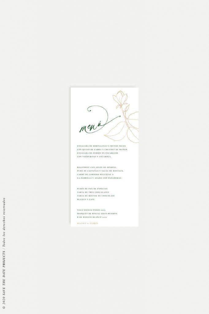 minuta de boda magnolia kraft