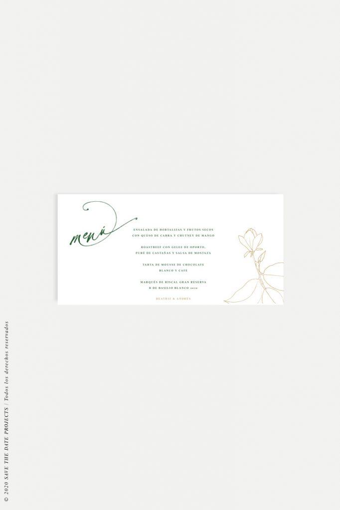 menu de boda sencillo con flor MAGONOLIA camel horizontal