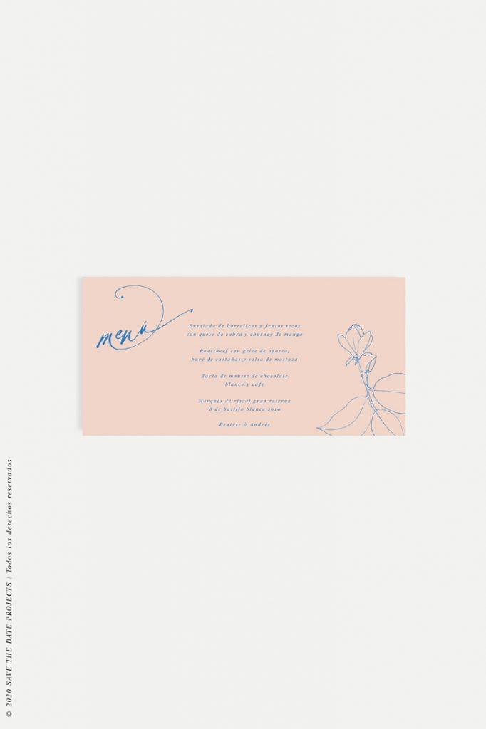 menu de boda sencillo con flor MAGONOLIA nude