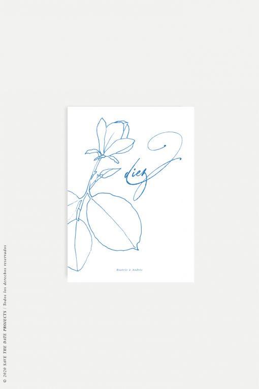 mesero de boda sencillo con flor MAGONOLIA azul