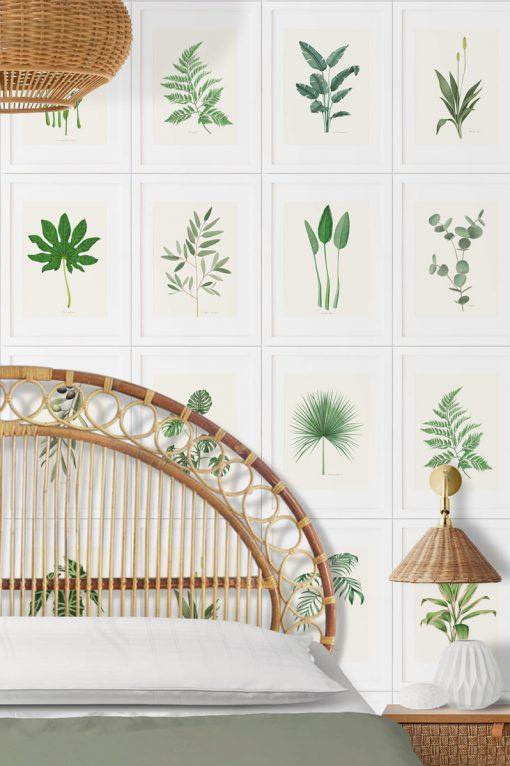 papel de pared con plantas dormitorio