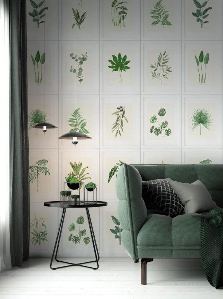 papel pintado con plantas para saloles