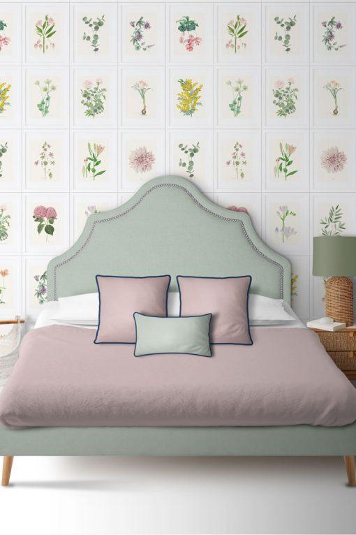 dormitorio papel pintado flores
